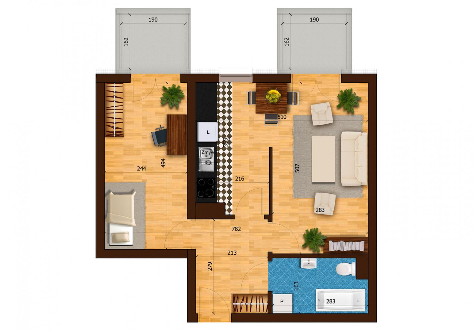 Mieszkanie dwupokojowe 31A/34 rzut 1