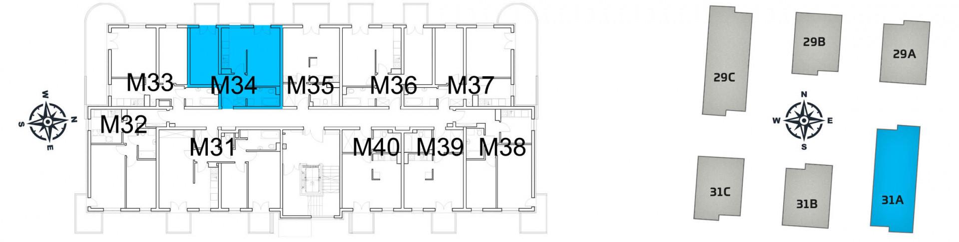Mieszkanie dwupokojowe 31A/34 rzut 2