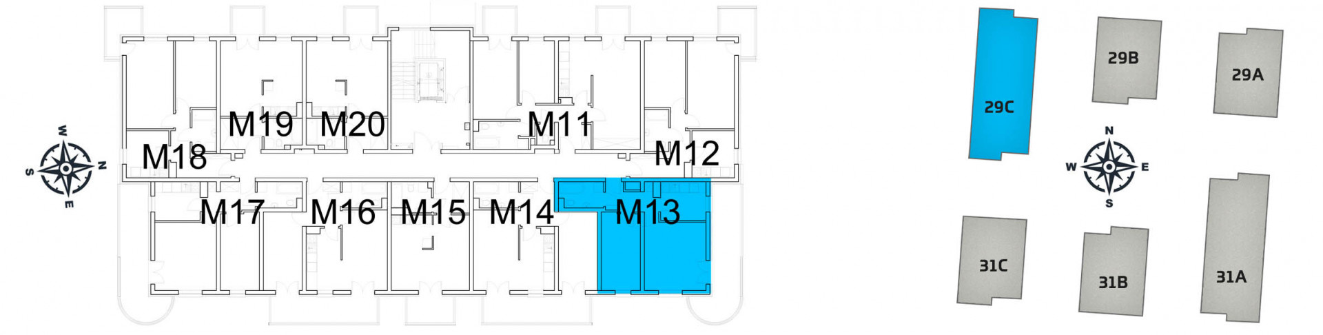 Mieszkanie dwupokojowe 29C/13 rzut 2