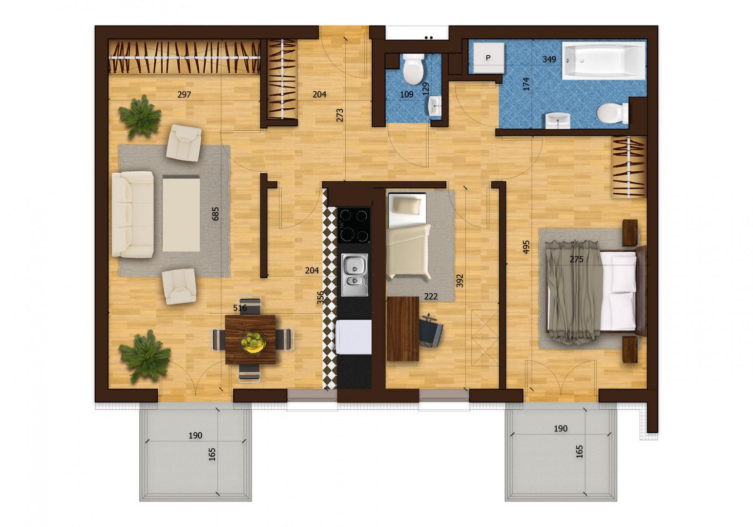 Mieszkanie trzypokojowe 29D/1 rzut 1