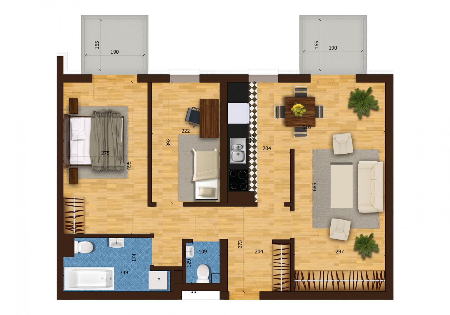 Mieszkanie trzypokojowe 31F/1 rzut 1