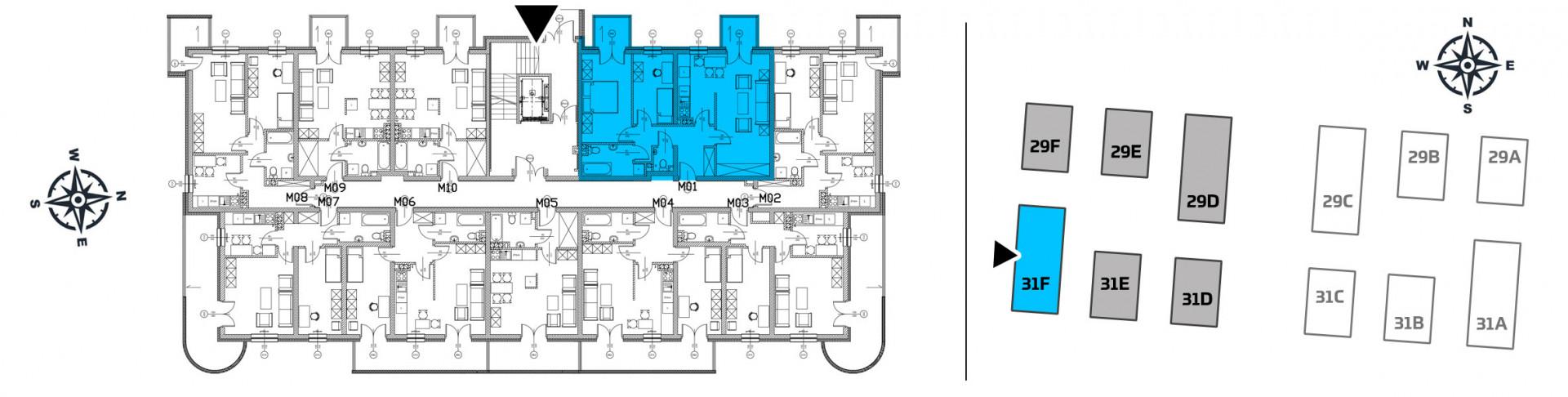 Mieszkanie trzypokojowe 31F/1 rzut 2