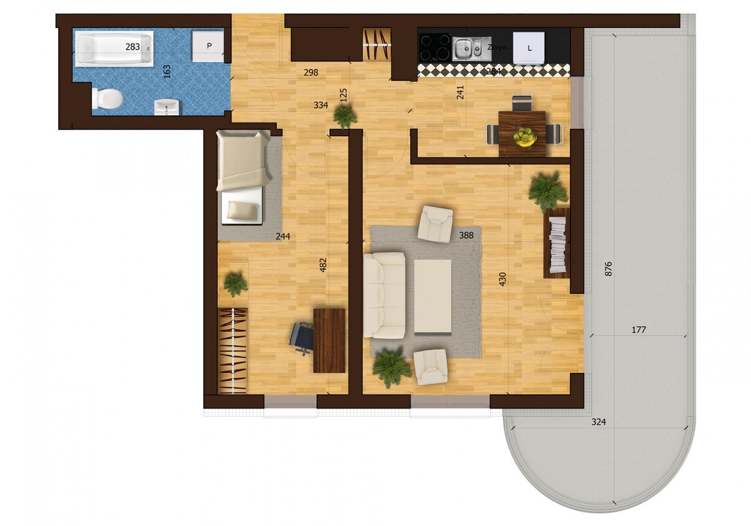 Mieszkanie dwupokojowe 31F/43 rzut 1