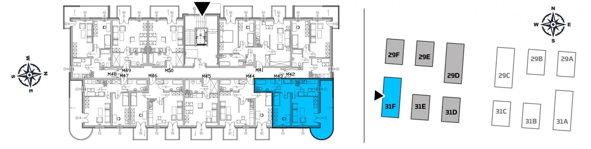 Mieszkanie dwupokojowe 31F/43 rzut 2