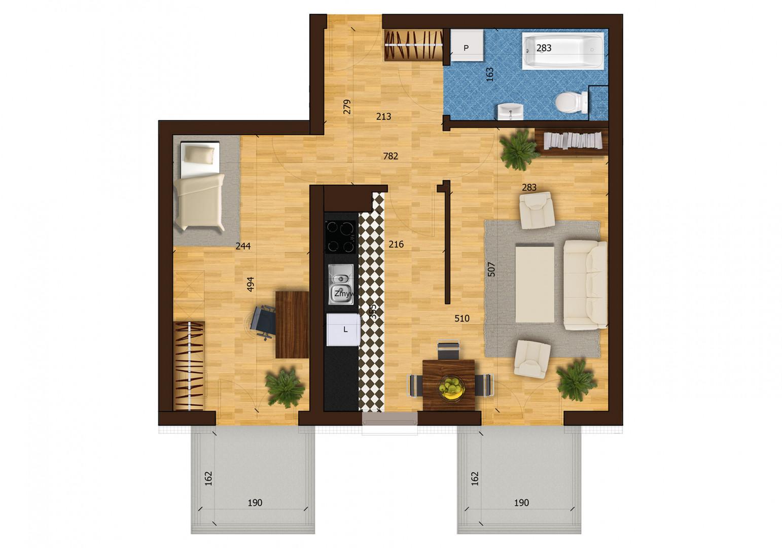 Mieszkanie dwupokojowe 31F/46 rzut 1