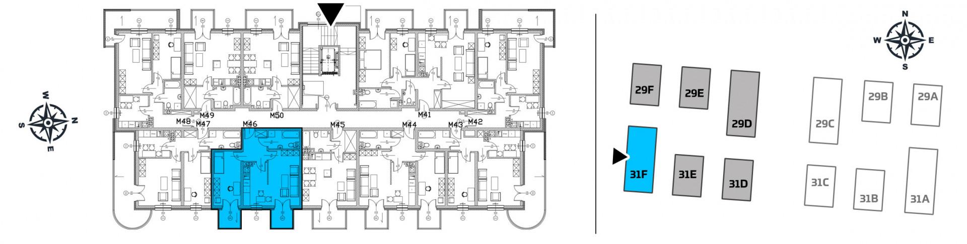 Mieszkanie dwupokojowe 31F/46 rzut 2
