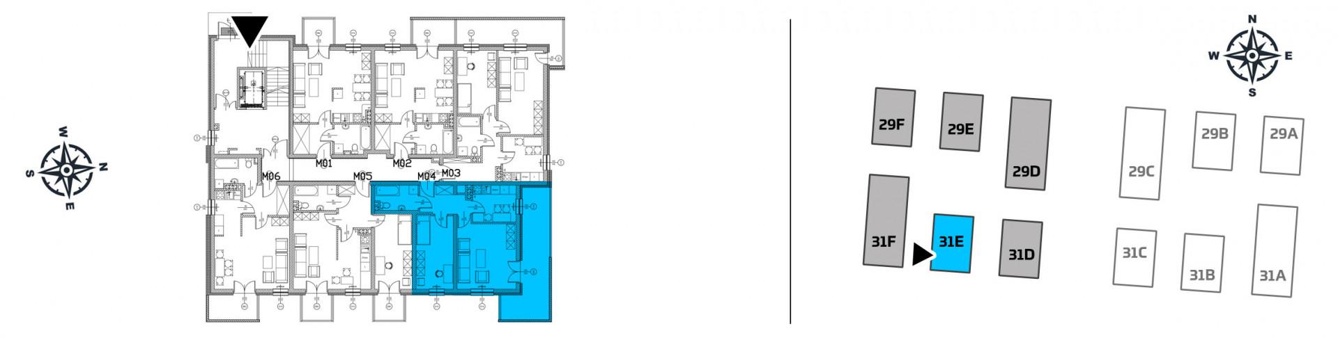 Mieszkanie dwupokojowe 31E/4 rzut 2