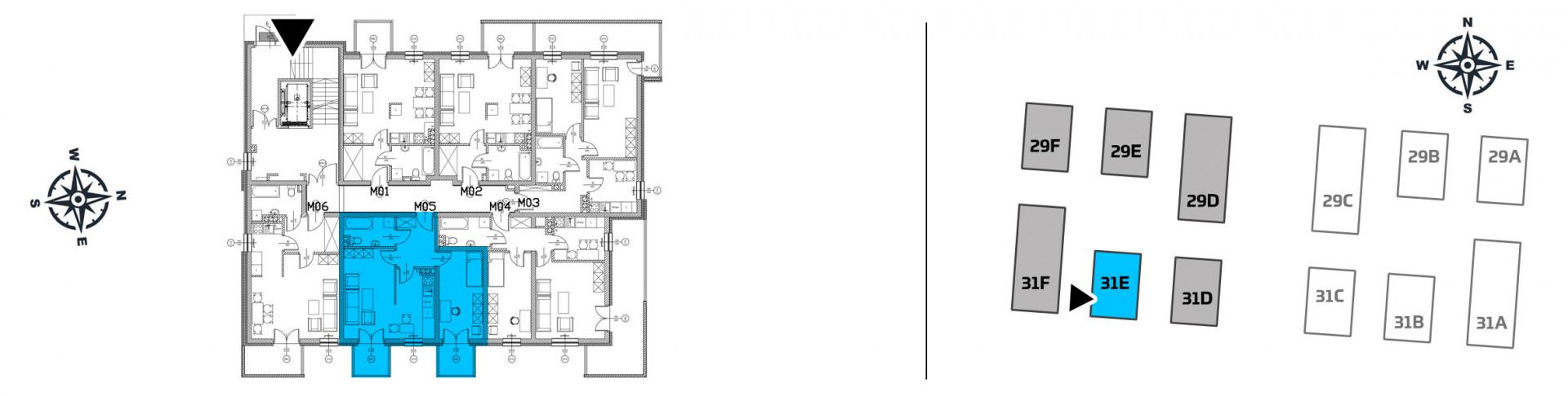 Mieszkanie dwupokojowe 31E/5 rzut 2
