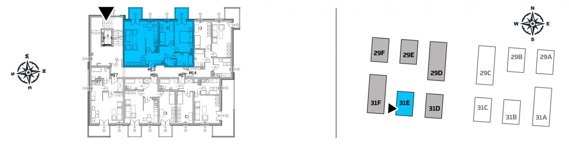 Mieszkanie trzypokojowe 31E/13 rzut 2