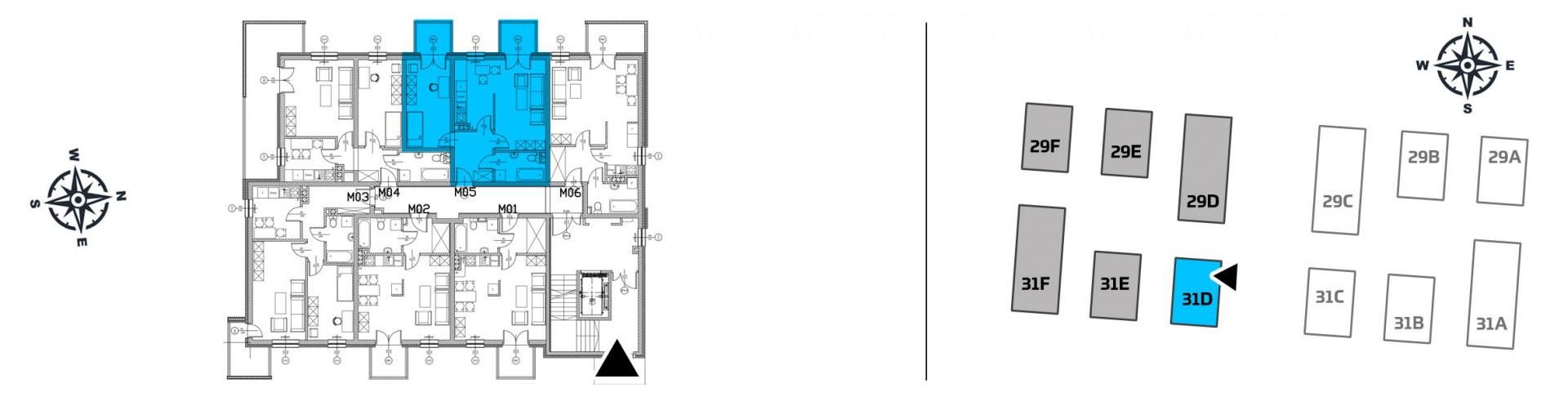 Mieszkanie dwupokojowe 31D/5 rzut 2