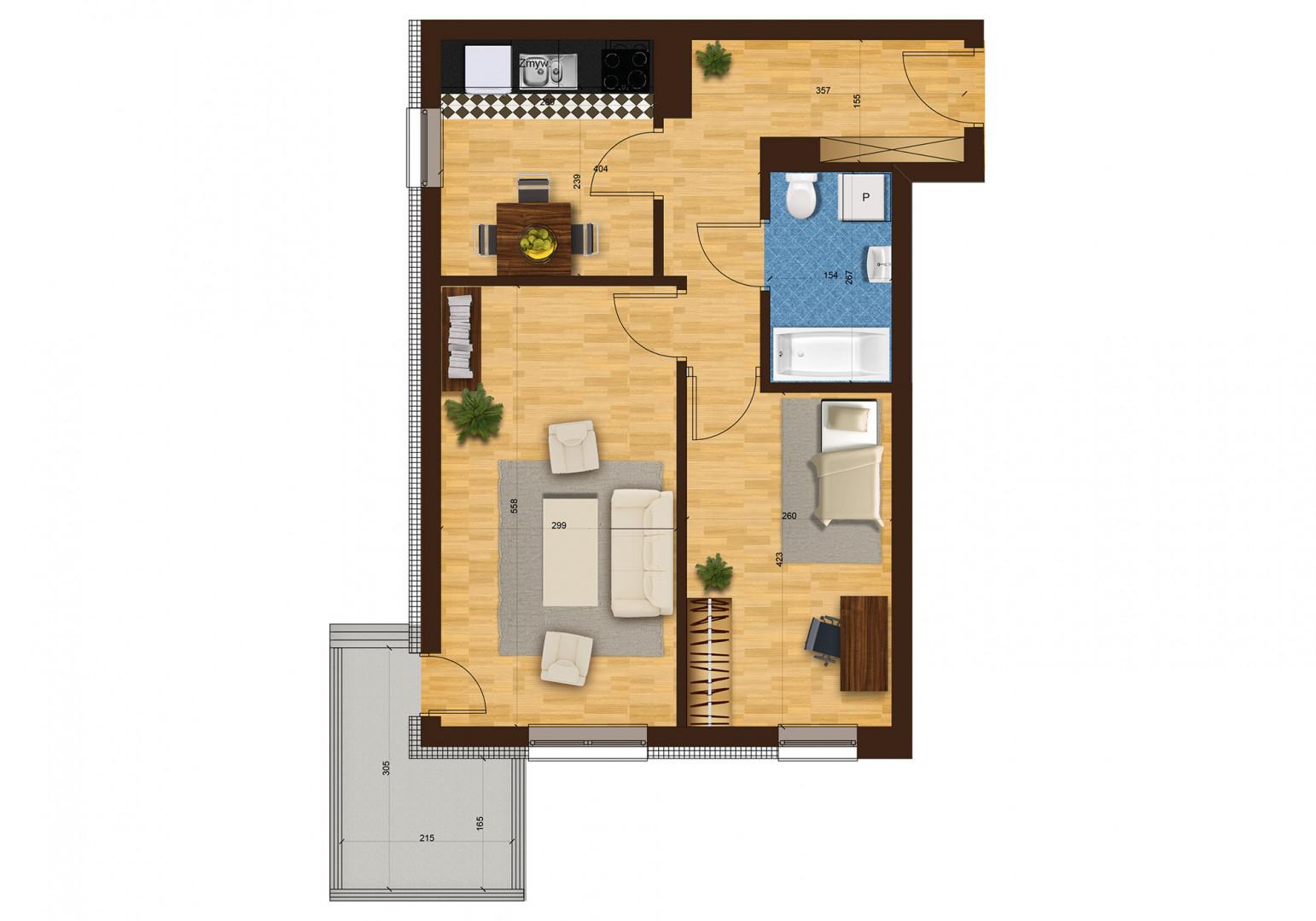 Mieszkanie dwupokojowe 29G/2 rzut 1