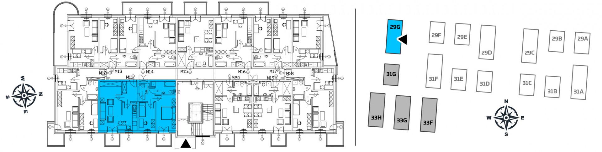Mieszkanie trzypokojowe 29G/11 rzut 2