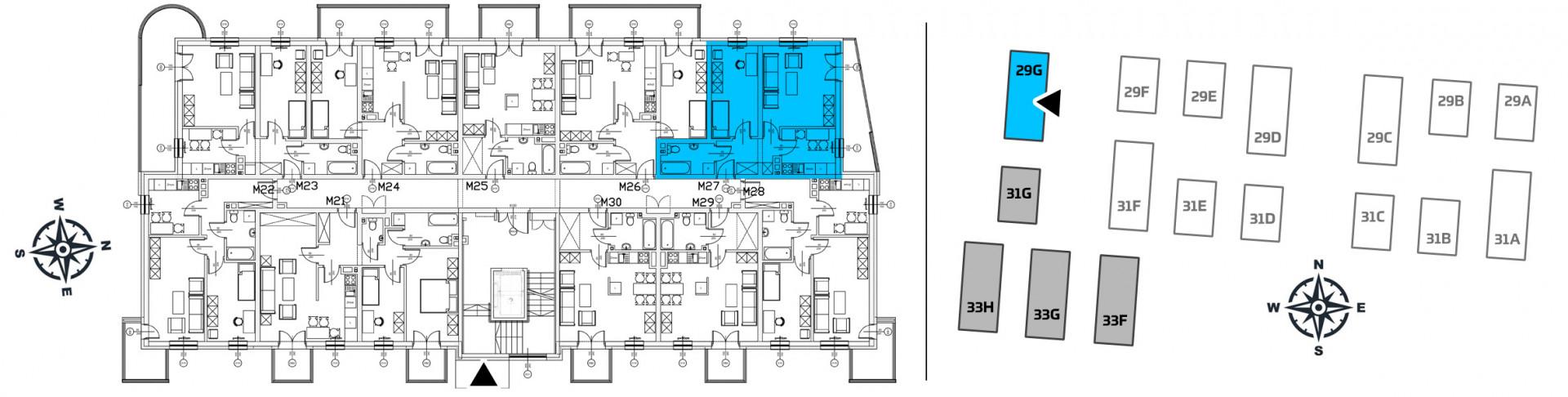 Mieszkanie dwupokojowe 29G/27 rzut 2