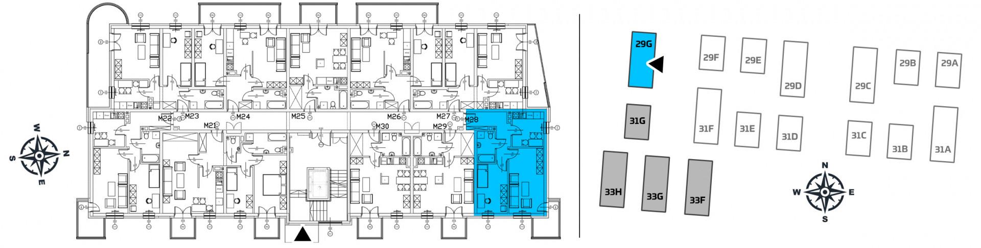 Mieszkanie dwupokojowe 29G/28 rzut 2