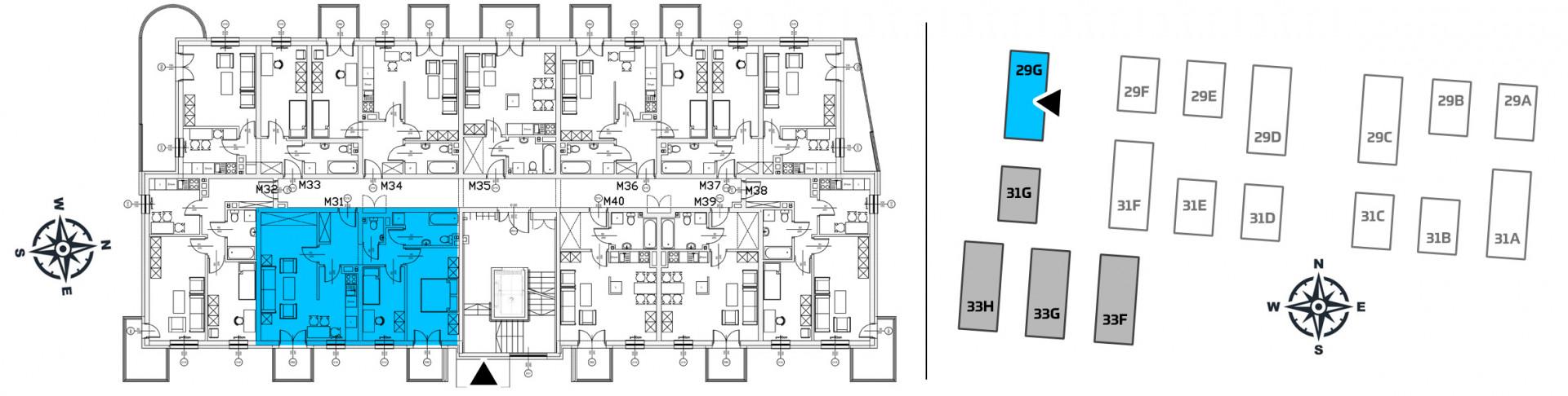 Mieszkanie trzypokojowe 29G/31 rzut 2