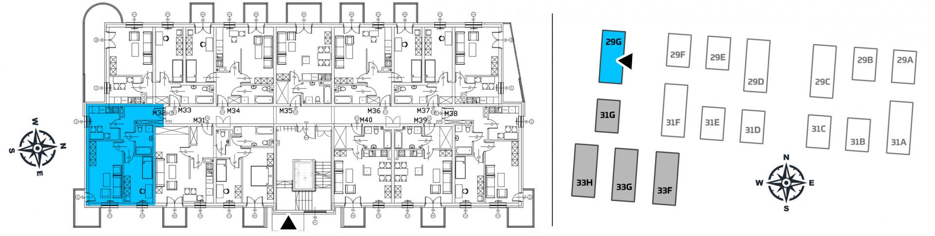 Mieszkanie dwupokojowe 29G/32 rzut 2