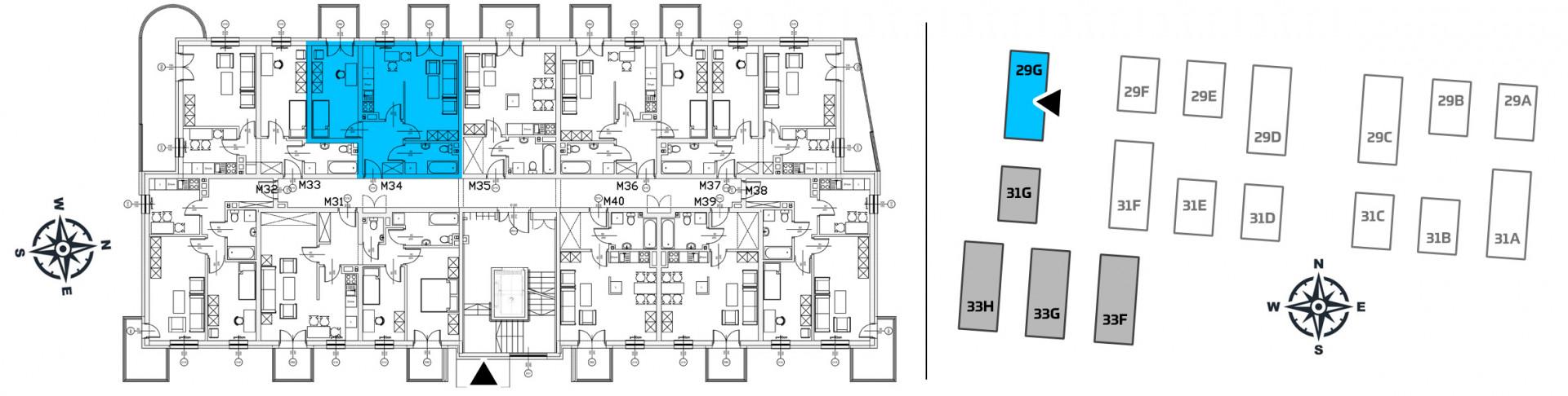 Mieszkanie dwupokojowe 29G/34 rzut 2