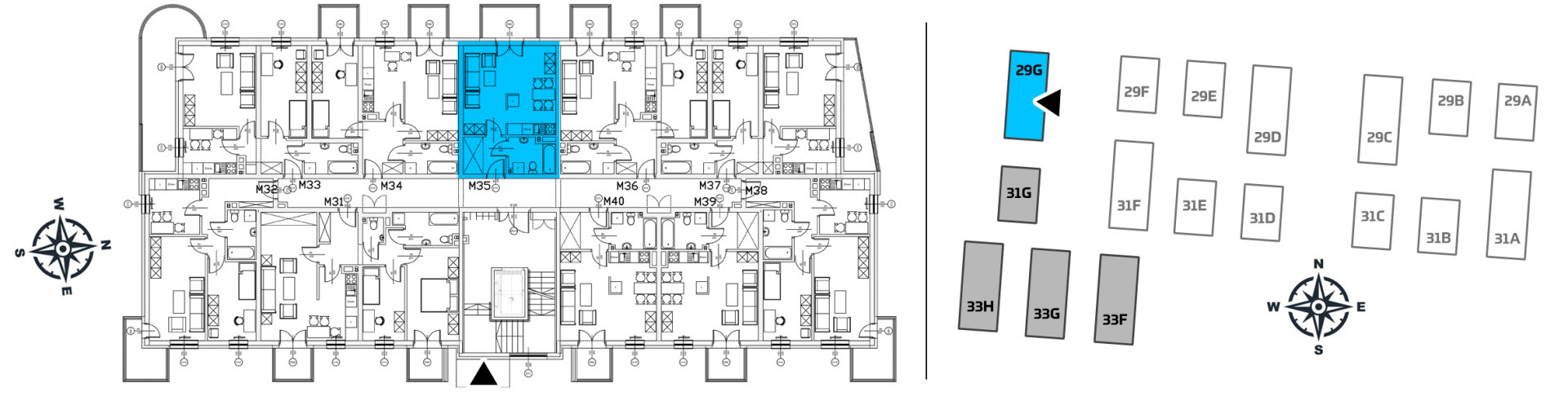 Mieszkanie jednopokojowe 29G/35 rzut 2