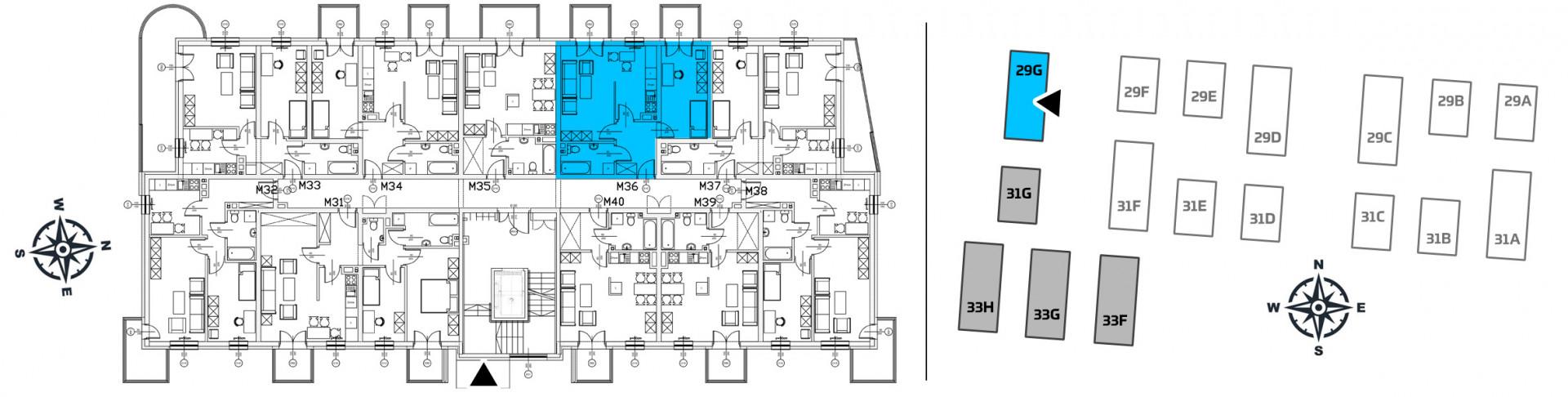 Mieszkanie dwupokojowe 29G/36 rzut 2