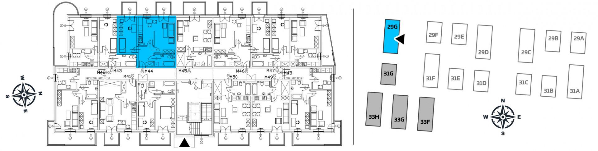 Mieszkanie dwupokojowe 29G/44 rzut 2