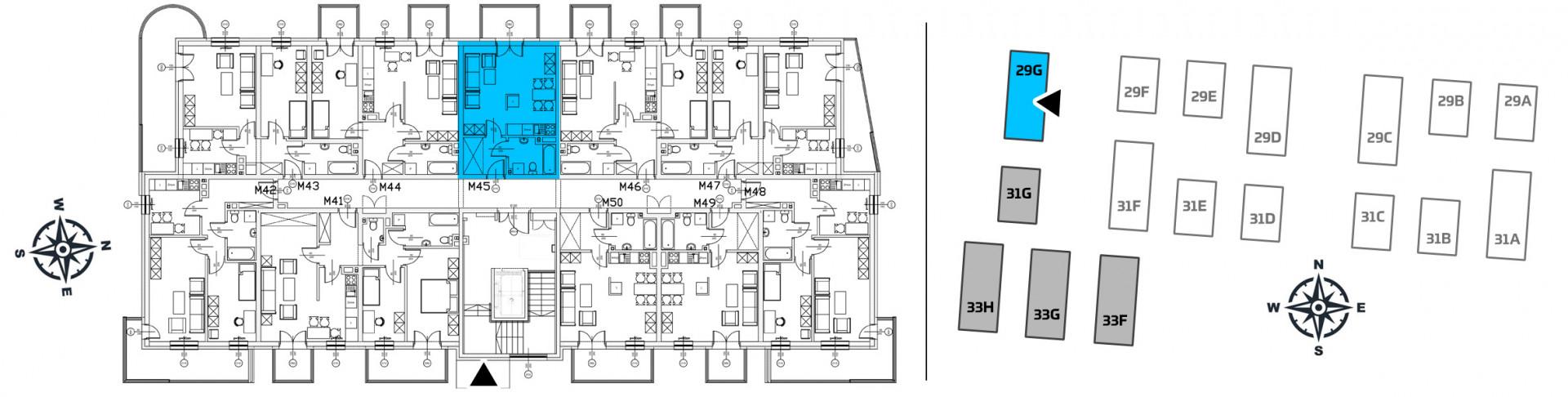 Mieszkanie jednopokojowe 29G/45 rzut 2