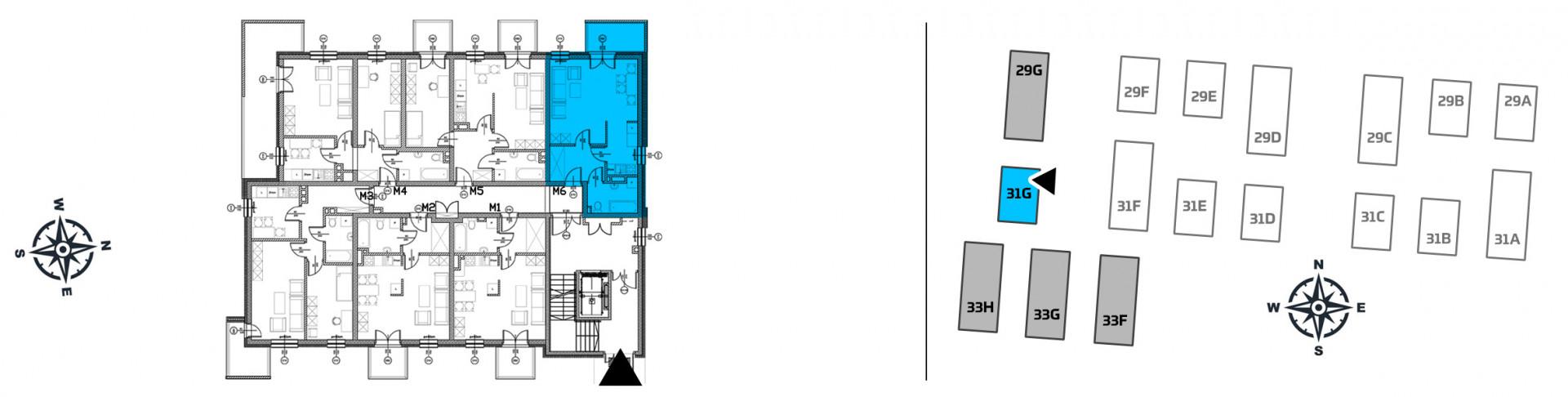 Mieszkanie jednopokojowe 31G/6 rzut 2