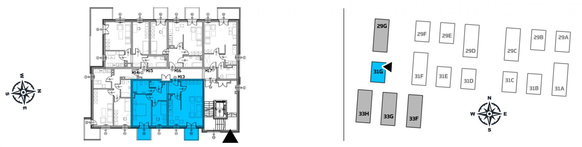 Mieszkanie trzypokojowe 31G/13 rzut 2