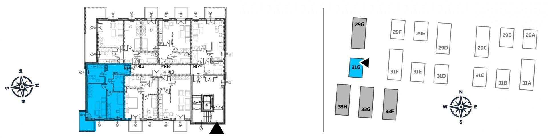 Mieszkanie dwupokojowe 31G/14 rzut 2