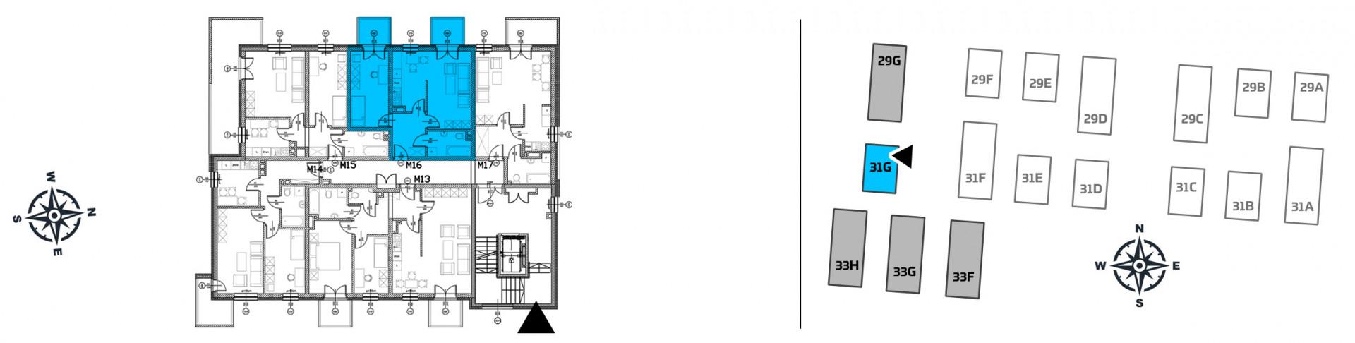 Mieszkanie dwupokojowe 31G/16 rzut 2