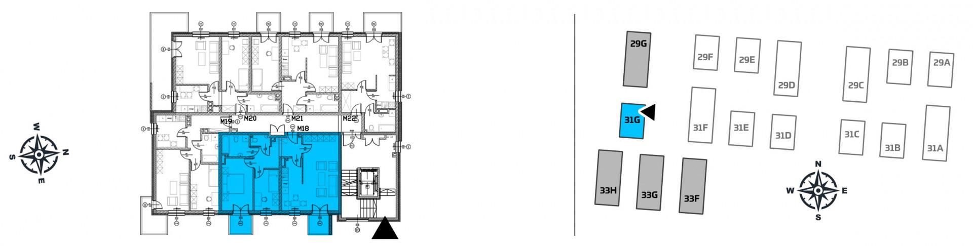 Mieszkanie trzypokojowe 31G/18 rzut 2