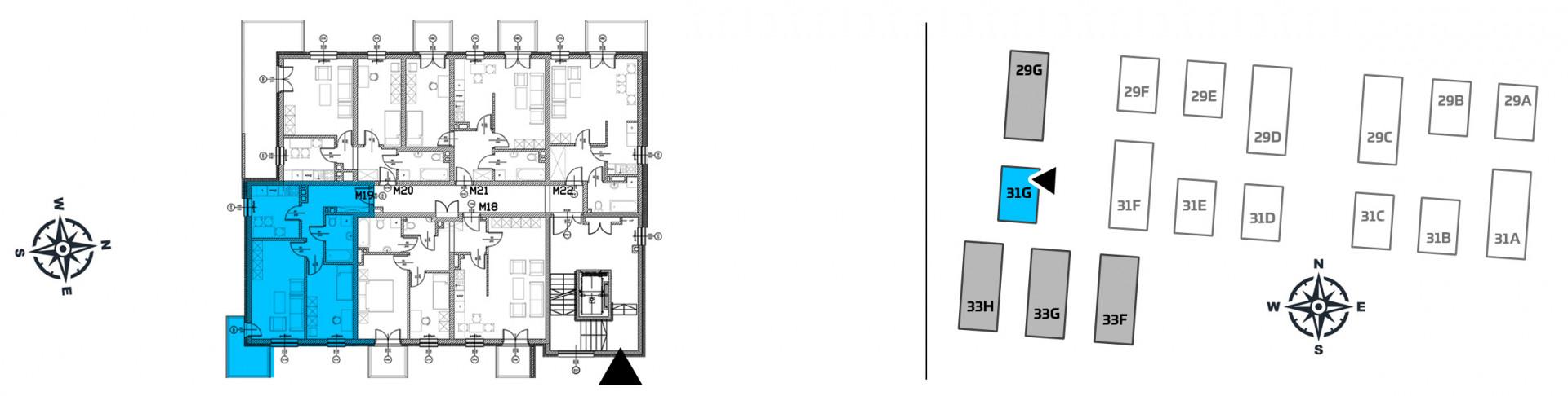 Mieszkanie dwupokojowe 31G/19 rzut 2