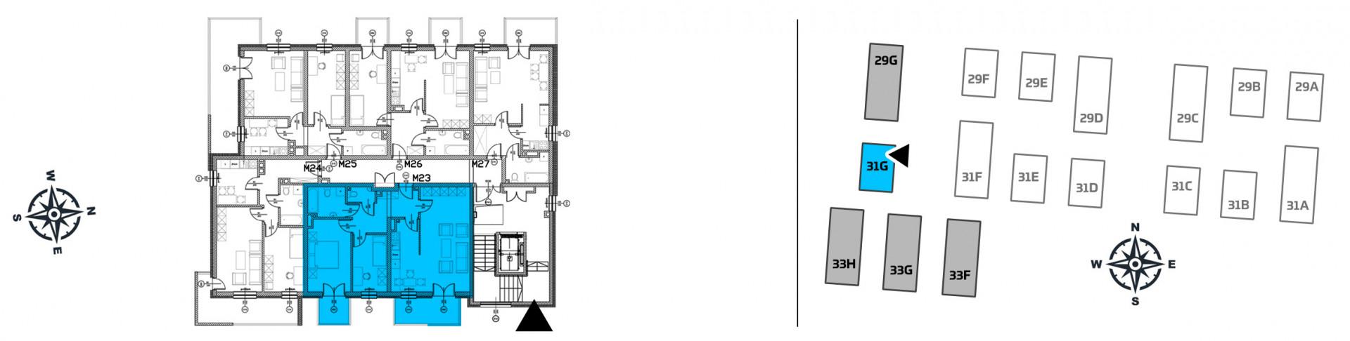Mieszkanie trzypokojowe 31G/23 rzut 2