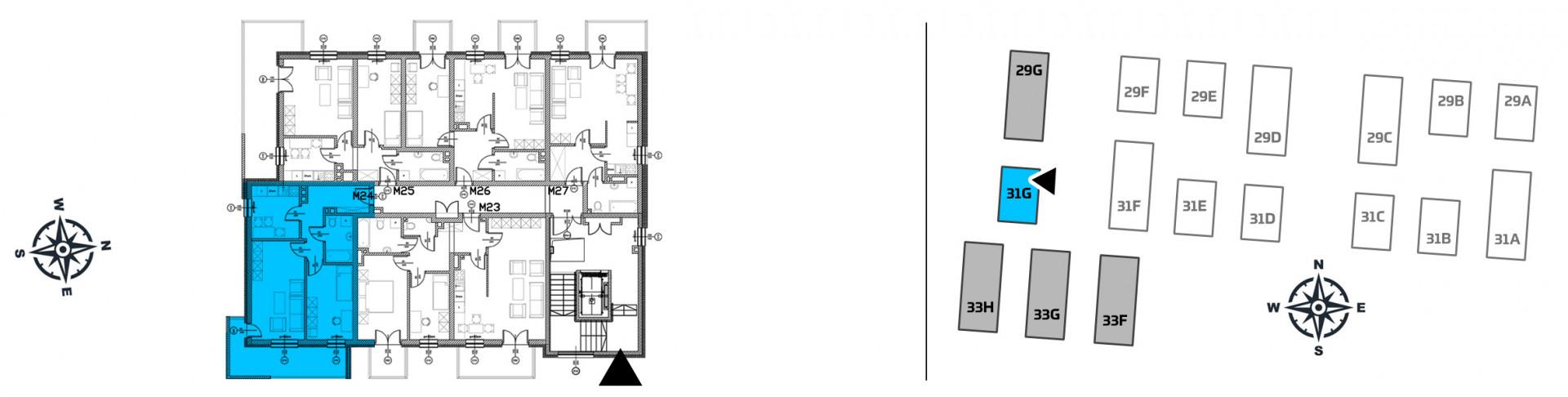 Mieszkanie dwupokojowe 31G/24 rzut 2