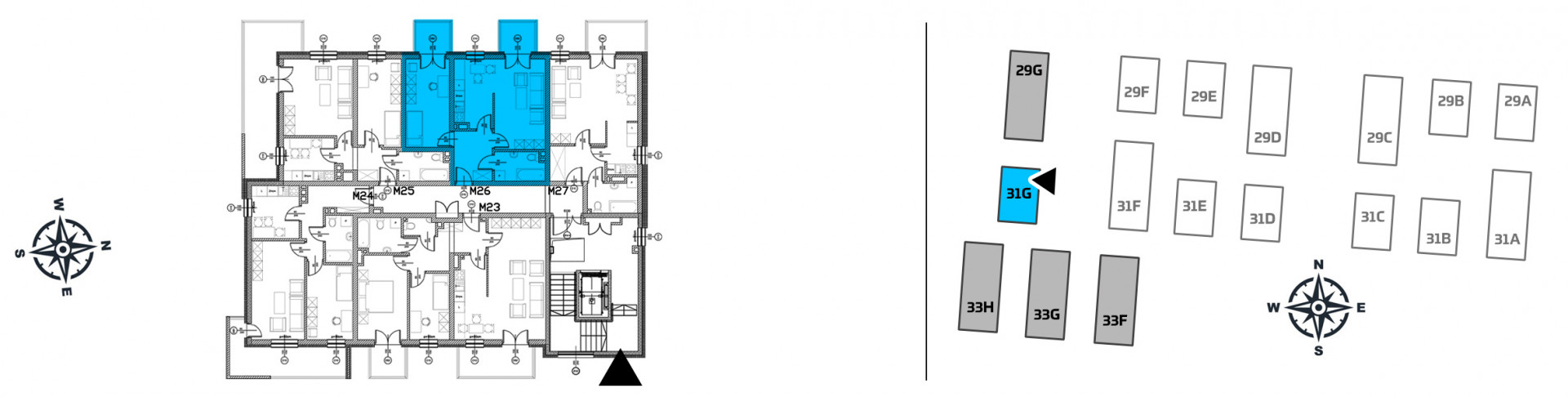 Mieszkanie dwupokojowe 31G/26 rzut 2