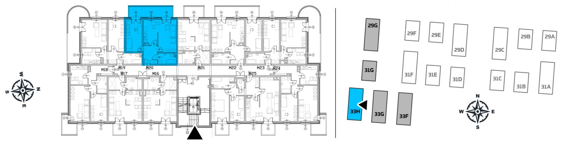 Mieszkanie dwupokojowe 33H/20 rzut 2