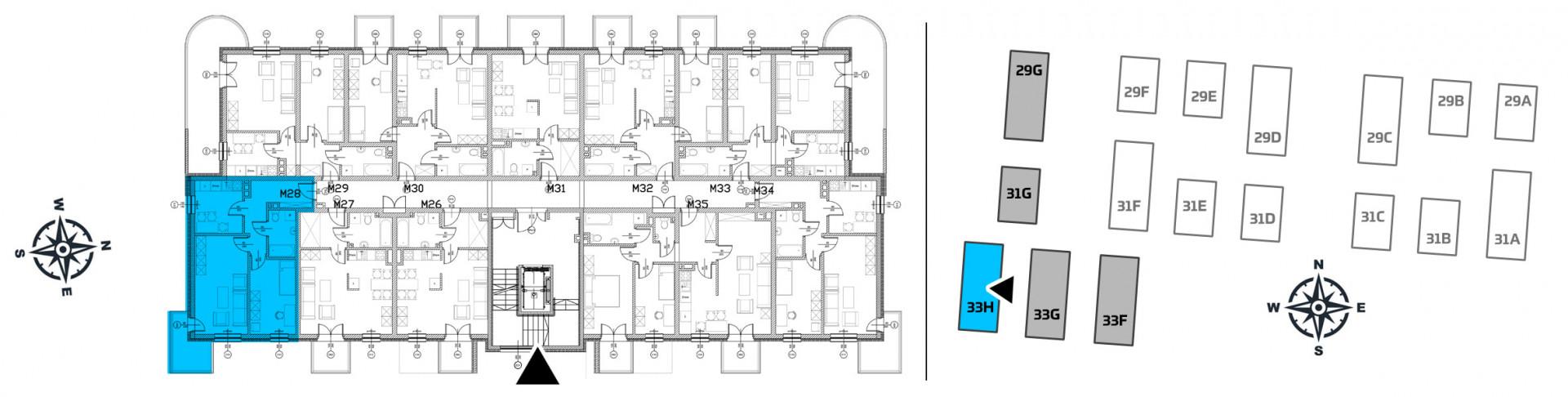 Mieszkanie dwupokojowe 33H/28 rzut 2