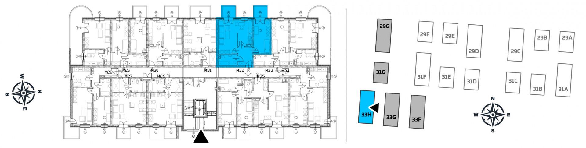 Mieszkanie dwupokojowe 33H/32 rzut 2