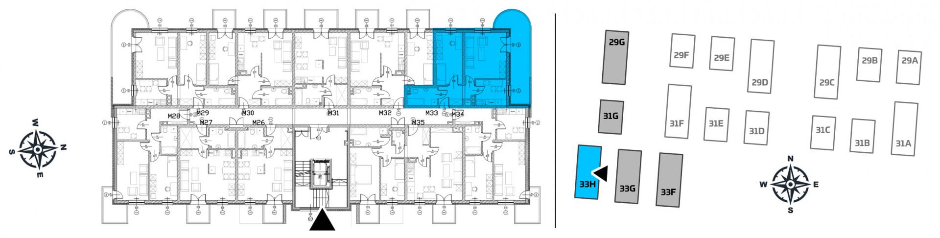Mieszkanie dwupokojowe 33H/33 rzut 2