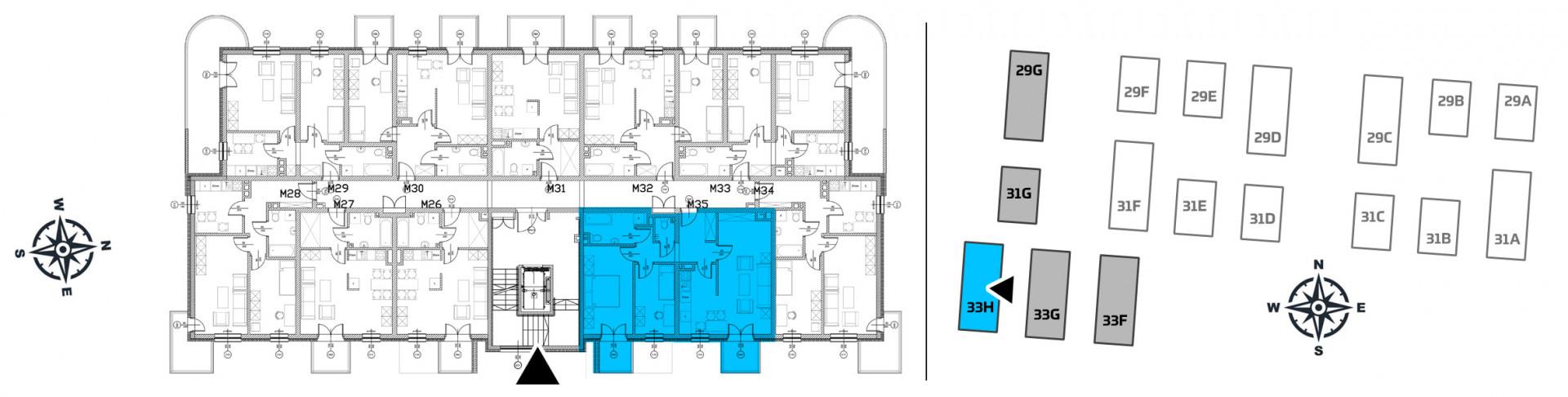 Mieszkanie trzypokojowe 33H/35 rzut 2