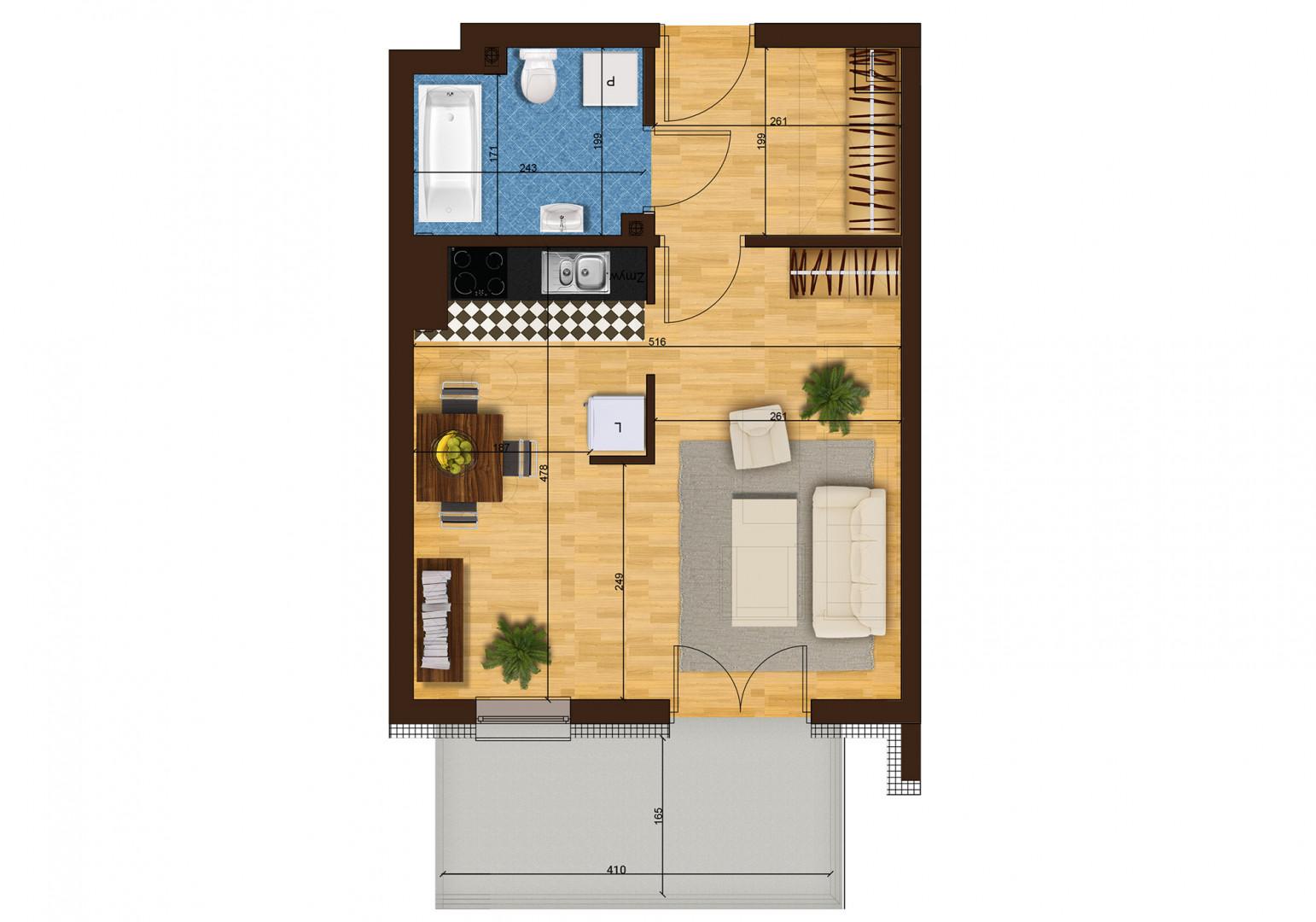 Mieszkanie jednopokojowe 33H/36 rzut 1