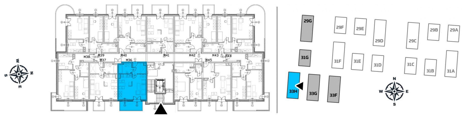 Mieszkanie jednopokojowe 33H/36 rzut 2