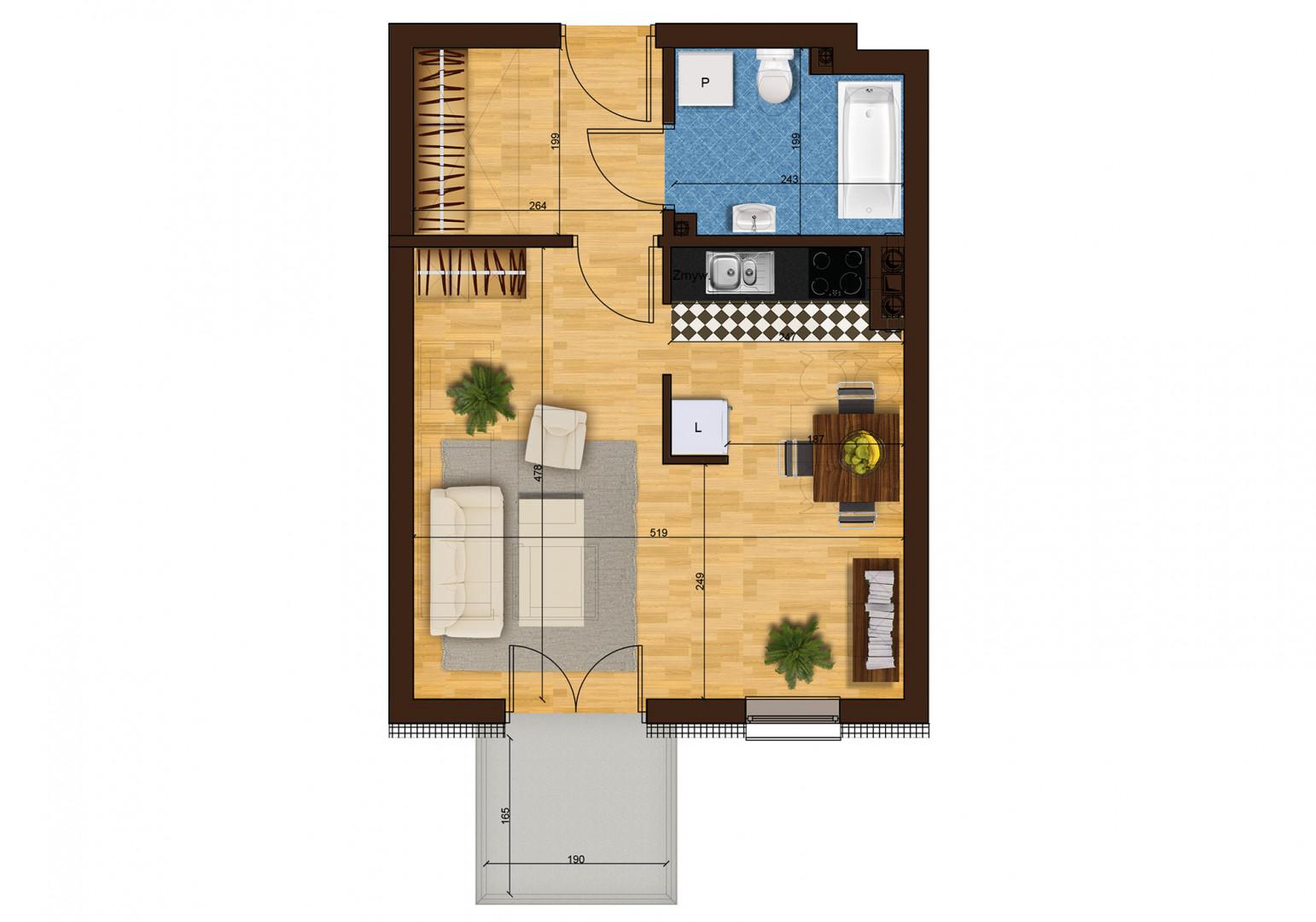Mieszkanie jednopokojowe 33H/37 rzut 1