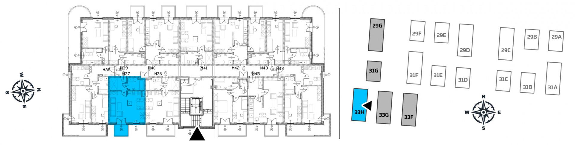 Mieszkanie jednopokojowe 33H/37 rzut 2