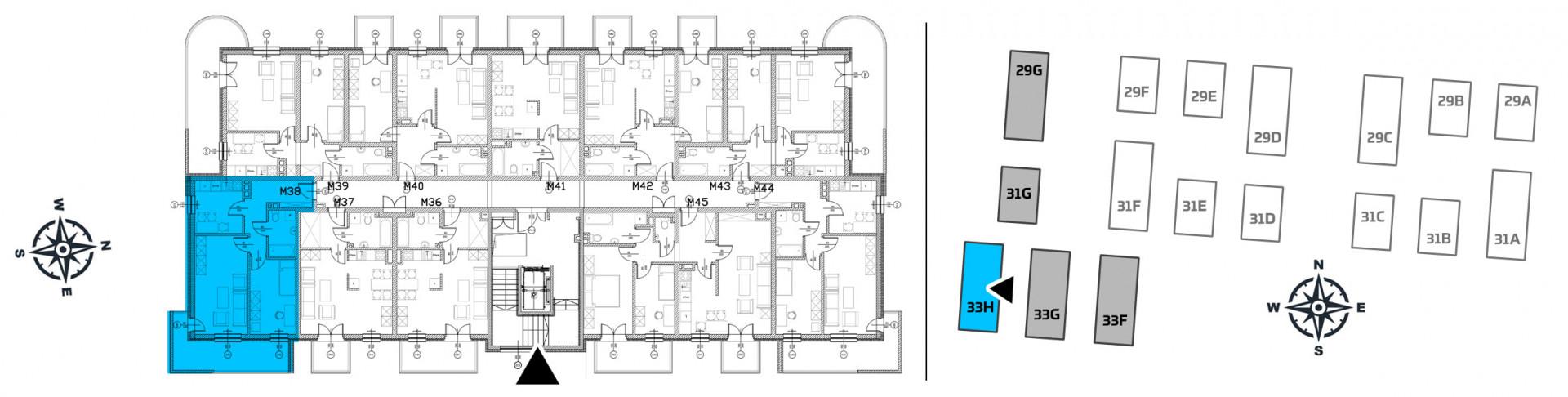 Mieszkanie dwupokojowe 33H/38 rzut 2