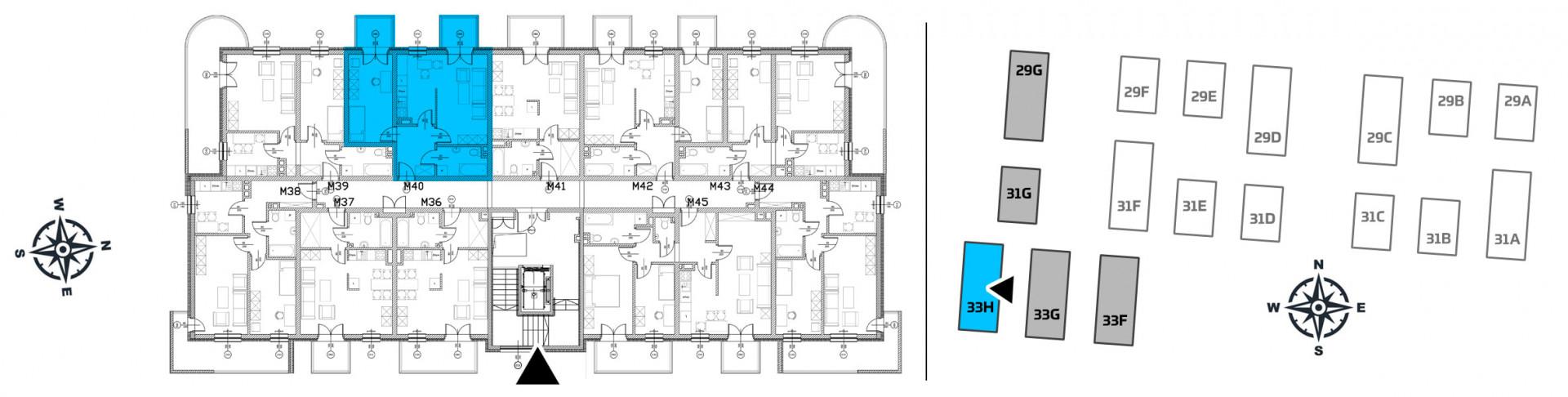 Mieszkanie dwupokojowe 33H/40 rzut 2