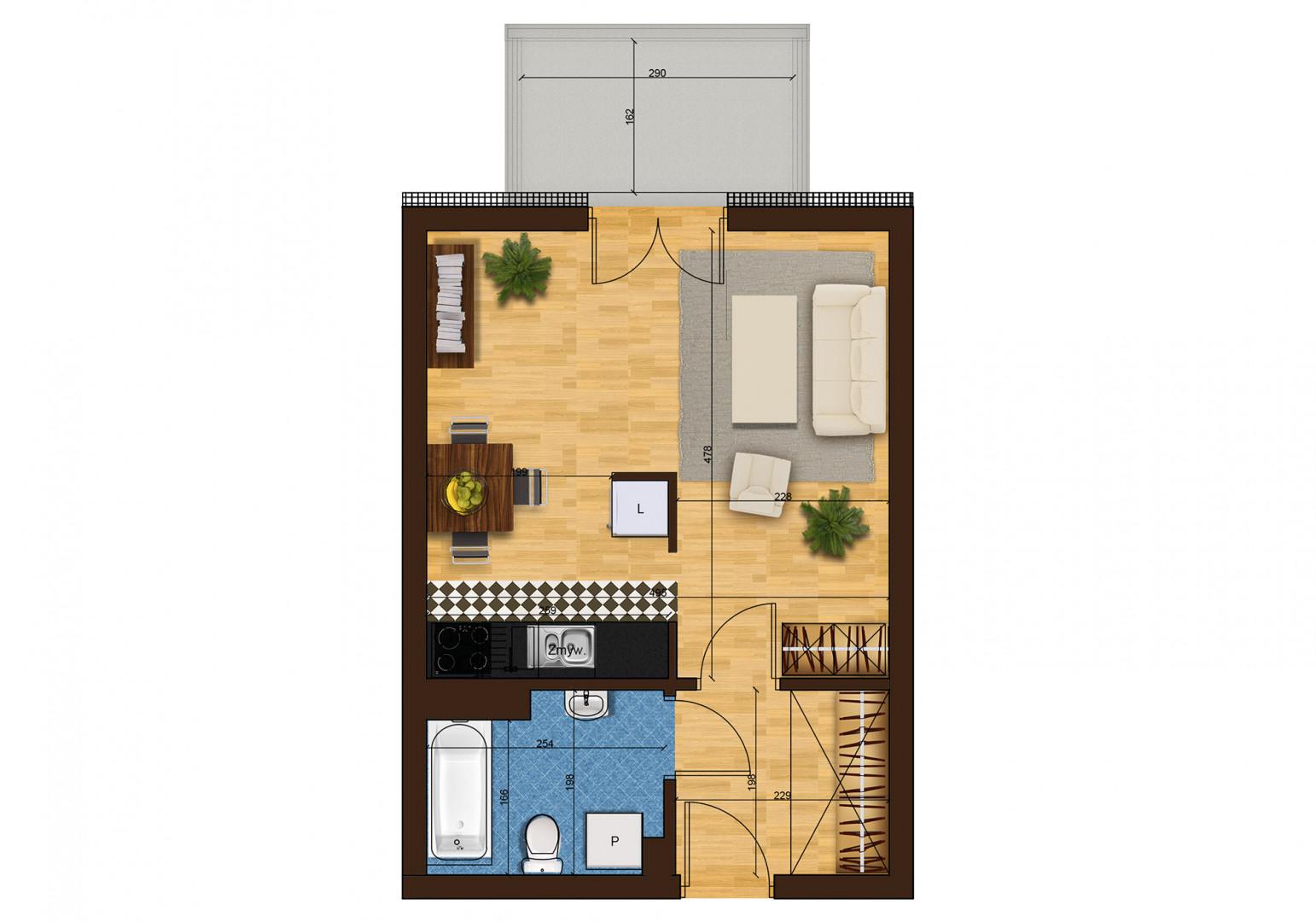 Mieszkanie jednopokojowe 33H/41 rzut 1