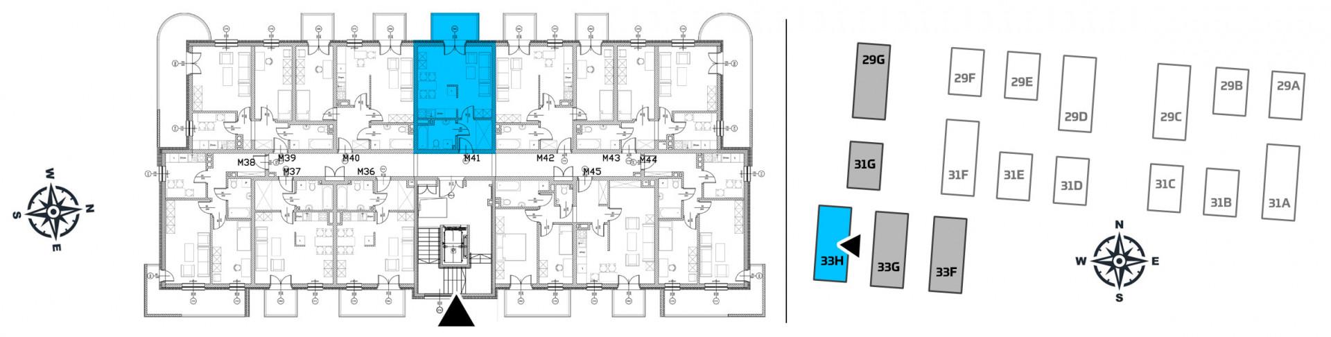 Mieszkanie jednopokojowe 33H/41 rzut 2