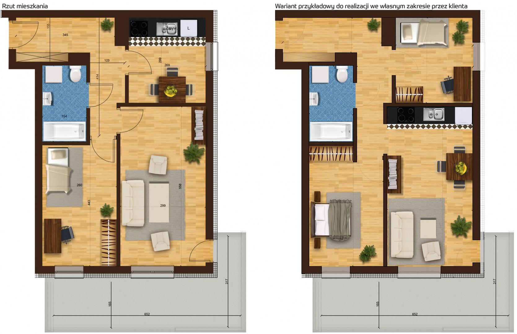 Mieszkanie dwupokojowe 33H/44 rzut 1