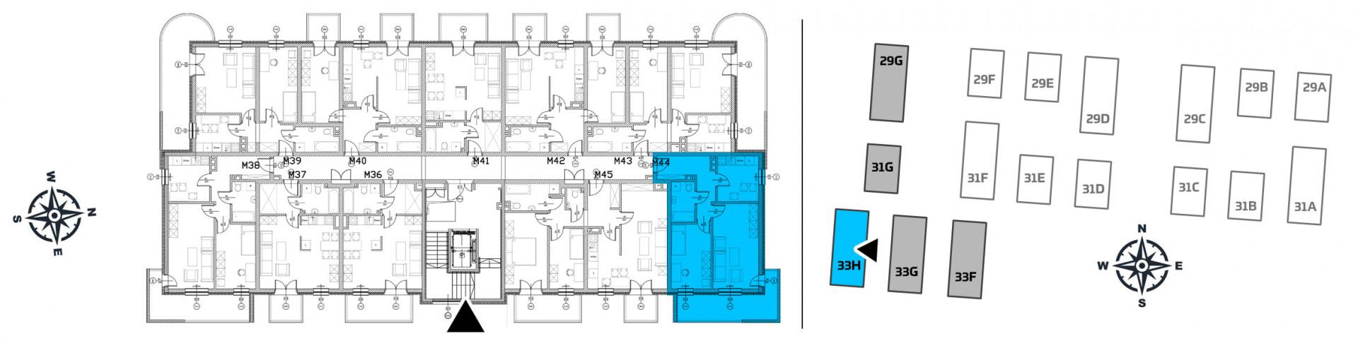 Mieszkanie dwupokojowe 33H/44 rzut 2