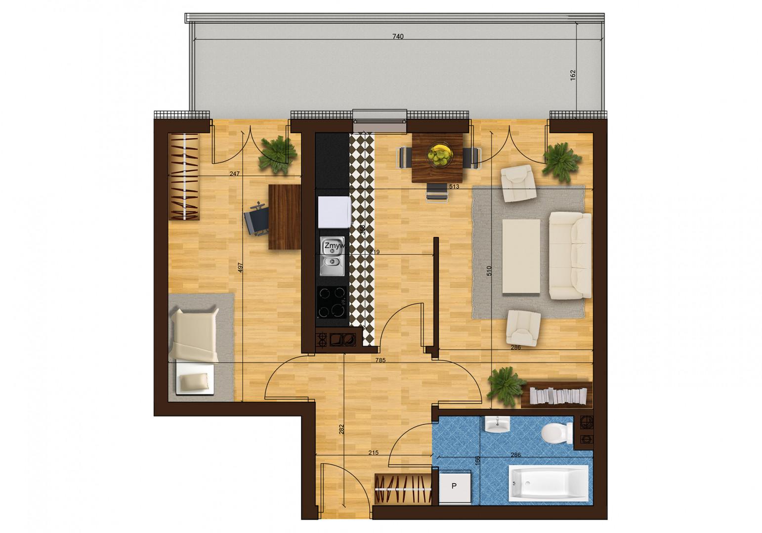 Mieszkanie dwupokojowe 33F/2 rzut 1